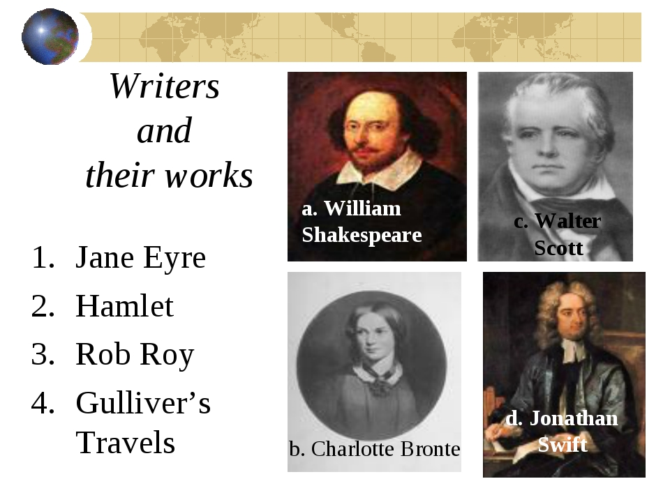 Writers and their works Jane Eyre Hamlet Rob Roy Gulliver's Travels