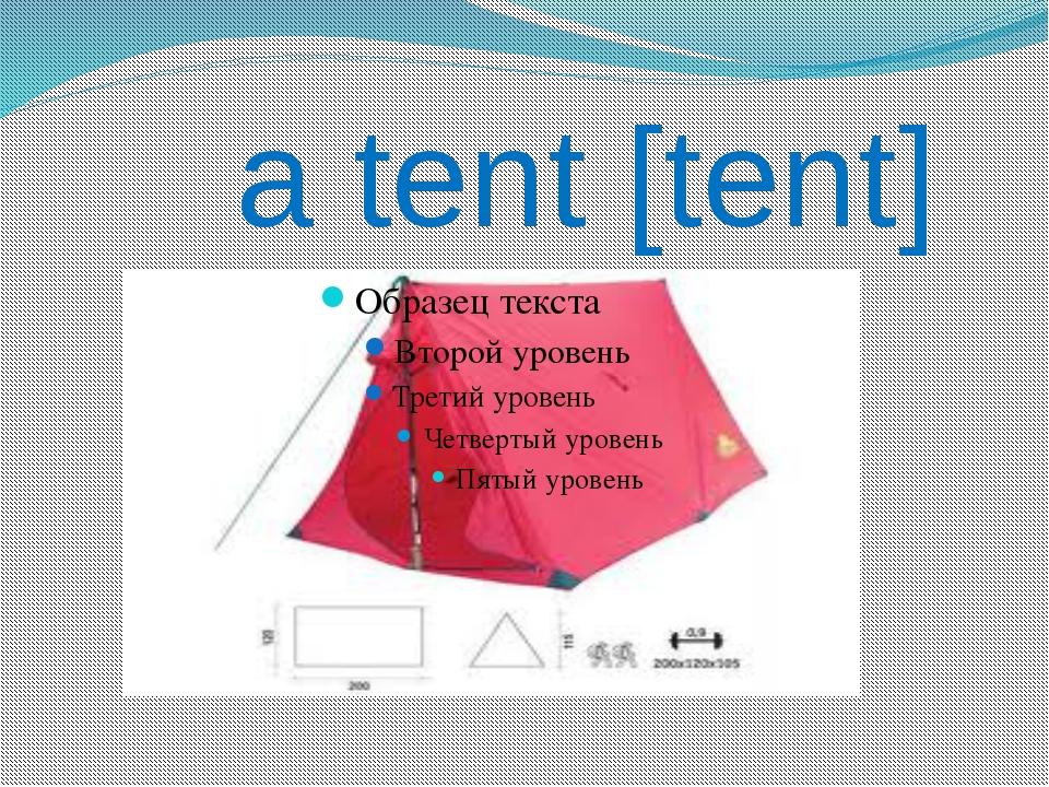 a tent [tent]