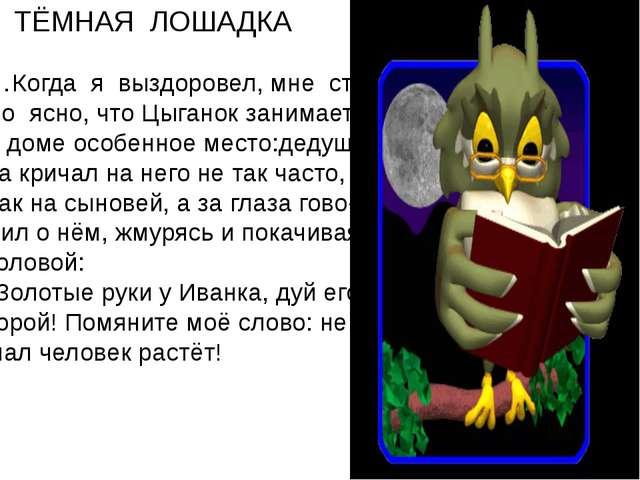 ТЁМНАЯ ЛОШАДКА …Когда я выздоровел, мне ста- ло ясно, что Цыганок занимает в...