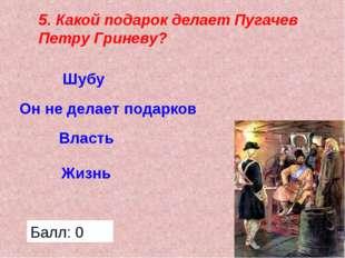 5. Какой подарок делает Пугачев Петру Гриневу? Жизнь Власть Он не делает пода