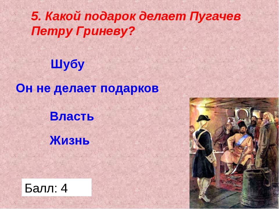 5. Какой подарок делает Пугачев Петру Гриневу? Жизнь Власть Он не делает пода...
