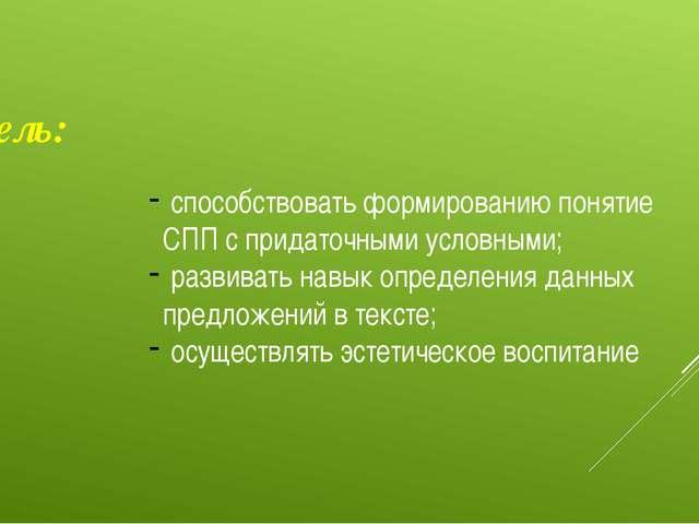 Цель: способствовать формированию понятие СПП с придаточными условными; разви...