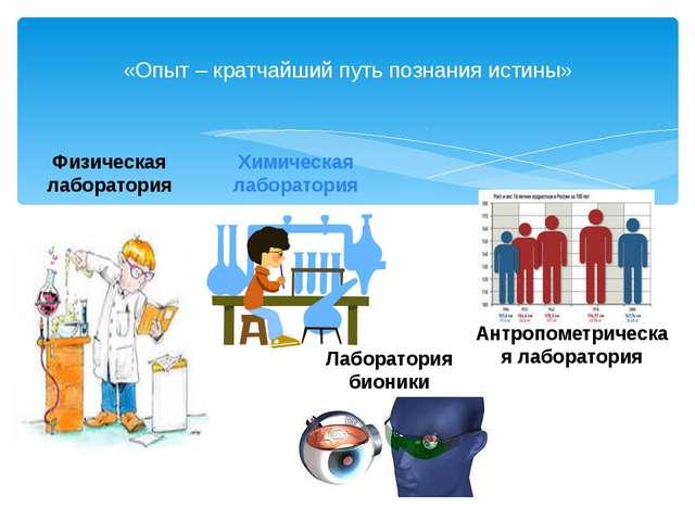«Опыт – кратчайший путь познания истины» Химическая лаборатория Лаборатория...