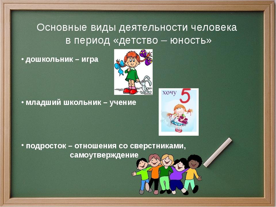 Основные виды деятельности человека в период «детство – юность» дошкольник –...