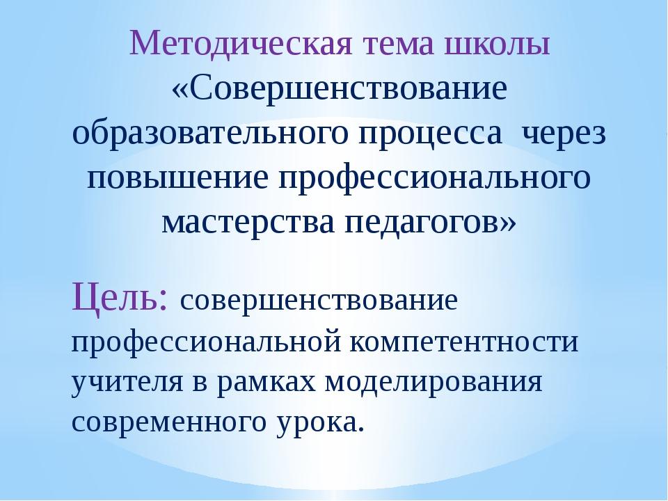 Методическая тема школы «Совершенствование образовательного процесса через по...