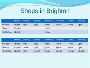 Shops in Brighton SundayMondayTuesdayWednesdayThursdayFridaySaturday G