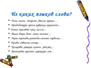 Из каких языков слова? Тема, схема, теорема, свекла. арахис… Кандидатура, аре