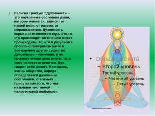 """Религия трактует:""""Духовность – это внутреннее состояние души, которое меняет"""