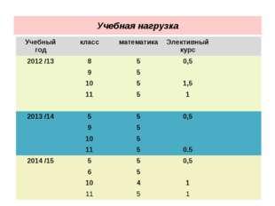 Учебная нагрузка Учебный годклассматематикаЭлективный курс 2012 /13850
