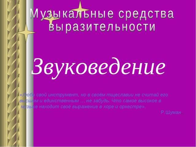 Звуковедение «Люби свой инструмент, но в своём тщеславии не считай его высшим...
