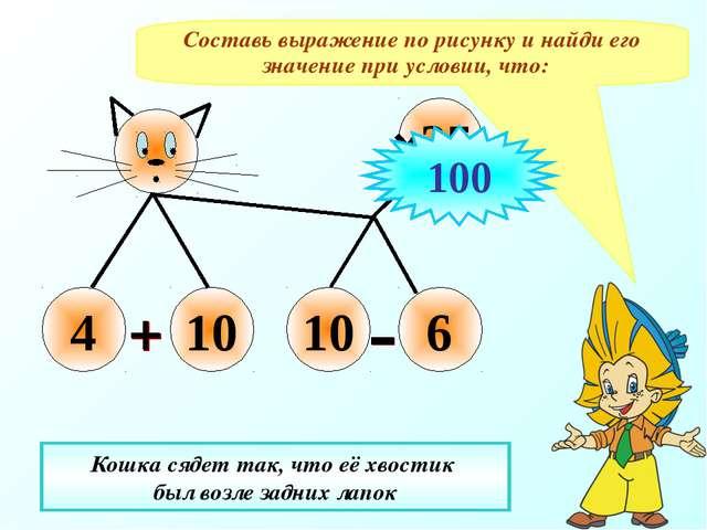 Составь выражение по рисунку и найди его значение при условии, что: Кошка сяд...