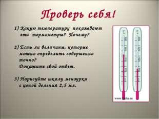Проверь себя! Какую температуру показывают эти термометры? Почему? 2) Есть ли