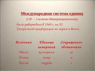 Международная система единиц была утверждена в 1960 г. на XI Генеральной конф