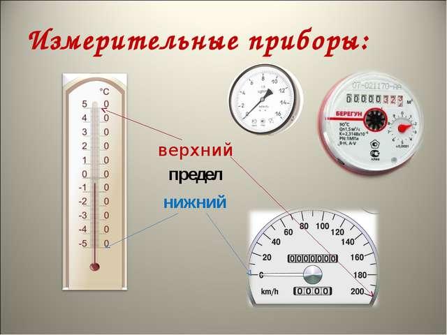 Измерительные приборы: верхний нижний предел