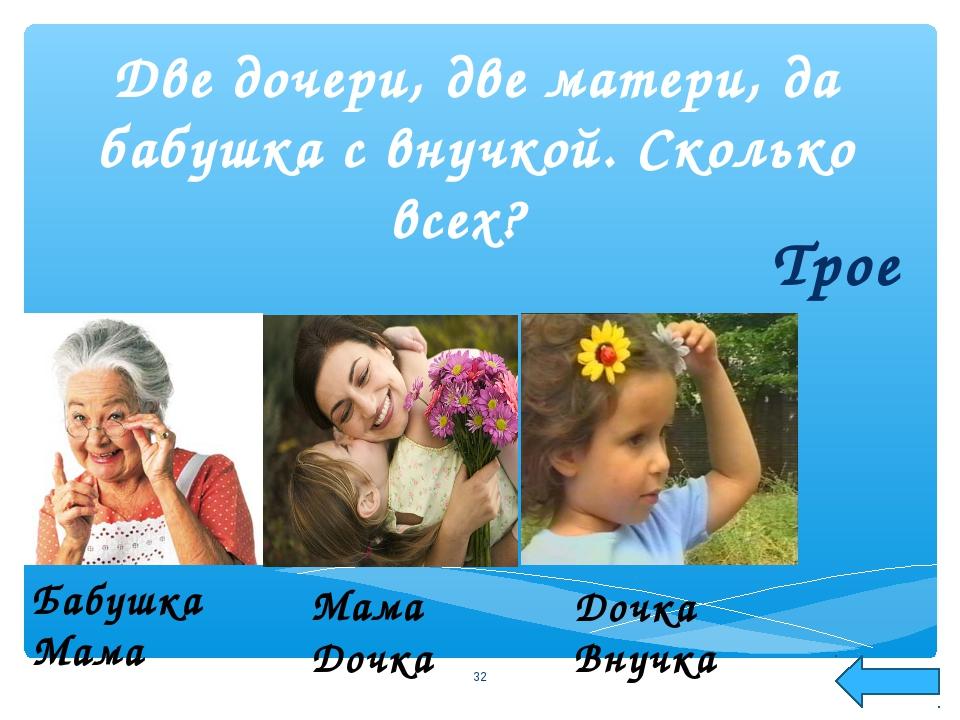 Две дочери, две матери, да бабушка с внучкой. Сколько всех? Трое * Бабушка Ма...