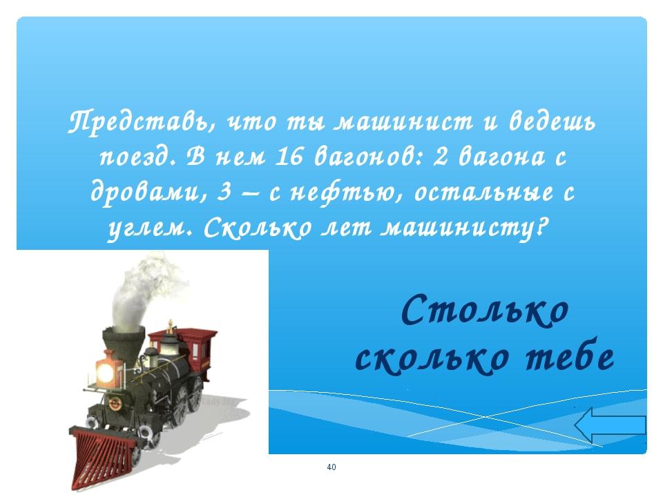Представь, что ты машинист и ведешь поезд. В нем 16 вагонов: 2 вагона с дрова...