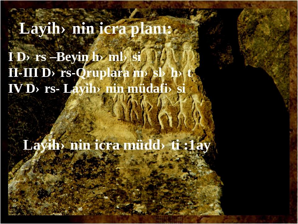 Layihənin icra planı: I Dərs –Beyin həmləsi II-III Dərs-Qruplara məsləhət IV...