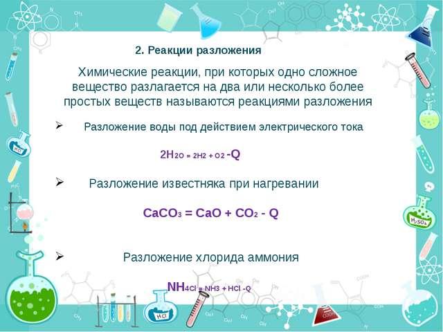 2. Реакции разложения Химические реакции, при которых одно сложное вещество р...