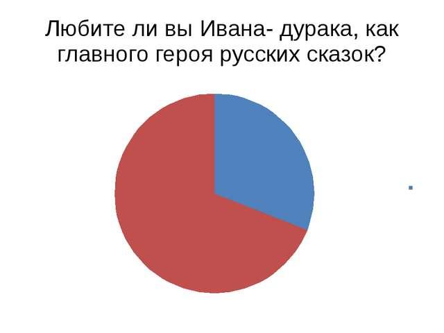 Любите ли вы Ивана- дурака, как главного героя русских сказок?