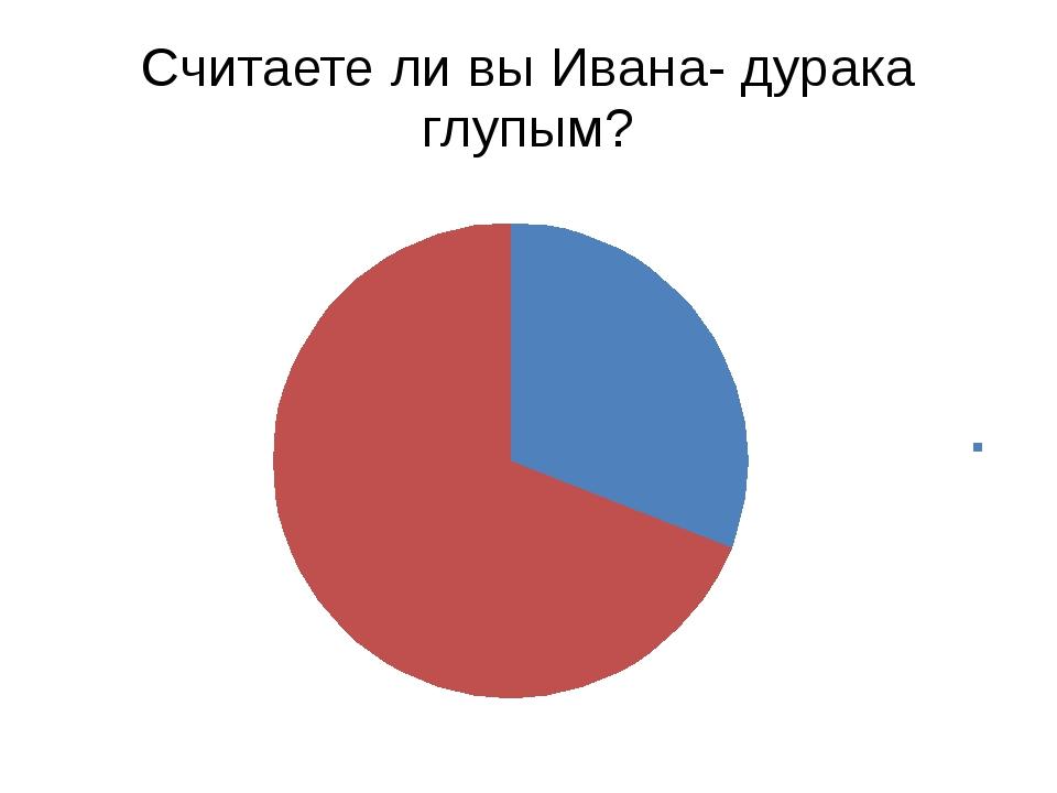 Считаете ли вы Ивана- дурака глупым?