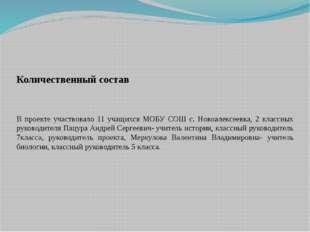 Количественный состав В проекте участвовало 11 учащихся МОБУ СОШ с. Новоалек