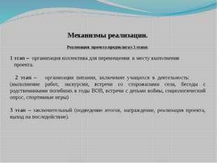 Механизмы реализации. Реализация проекта предполагал 3 этапа: 1 этап – орган