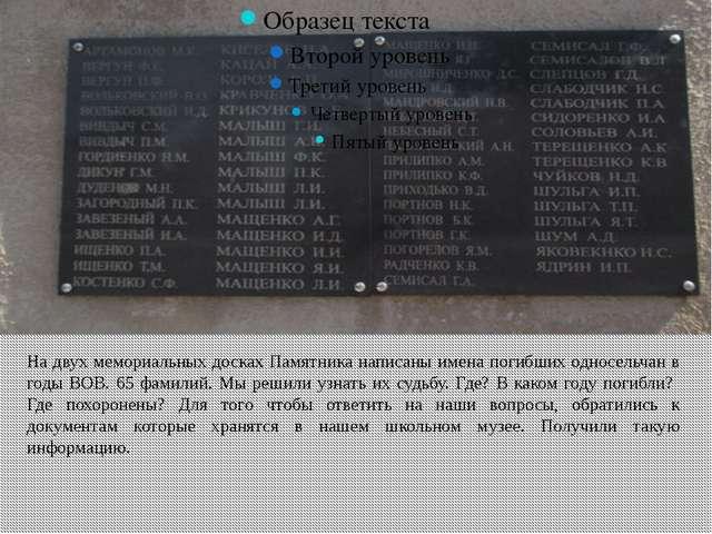 На двух мемориальных досках Памятника написаны имена погибших односельчан в...