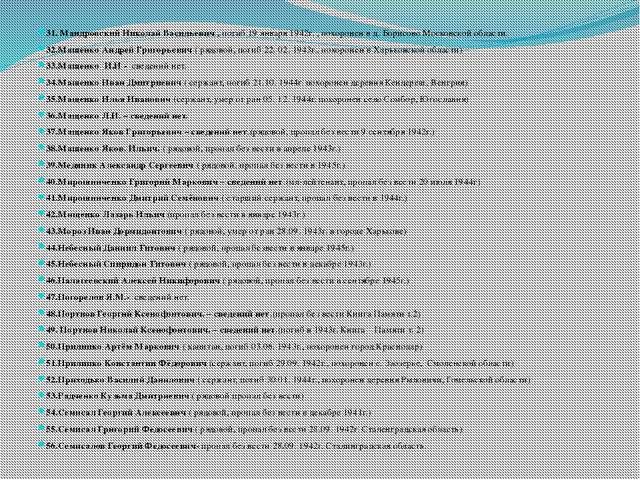 31. Мандровский Николай Васильевич , погиб 19 января 1942г. , похоронен в д....