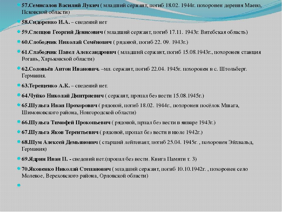 57.Семисалов Василий Лукич ( младший сержант, погиб 18.02. 1944г. похоронен...