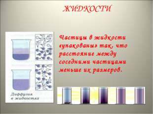 ЖИДКОСТИ Частицы в жидкости «упакованы» так, что расстояние между соседними ч