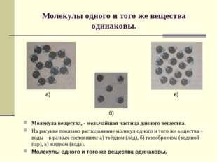 Молекулы одного и того же вещества одинаковы. Молекула вещества, - мельчайшая
