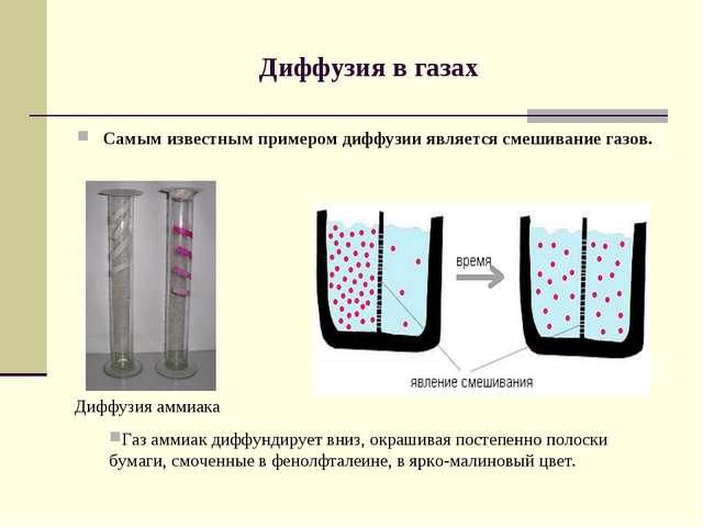 Диффузия в газах Самым известным примером диффузии является смешивание газов....