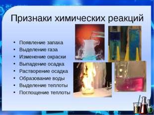 Признаки химических реакций Появление запаха Выделение газа Изменение окраски