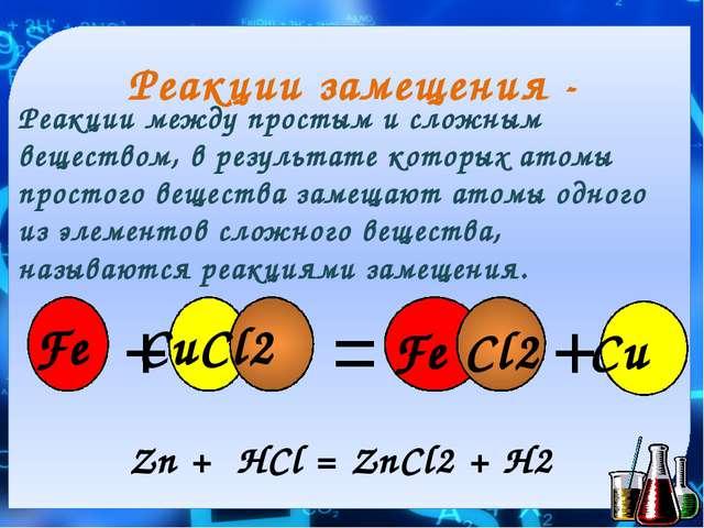 Реакции замещения - Реакции между простым и сложным веществом, в результате к...