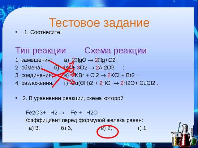 Тестовое задание 1. Соотнесите: Тип реакции  Схема реакции 1. замещения; а)...