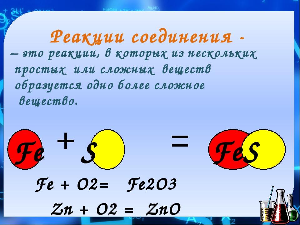 Реакции соединения - – это реакции, в которых из нескольких простых или сложн...