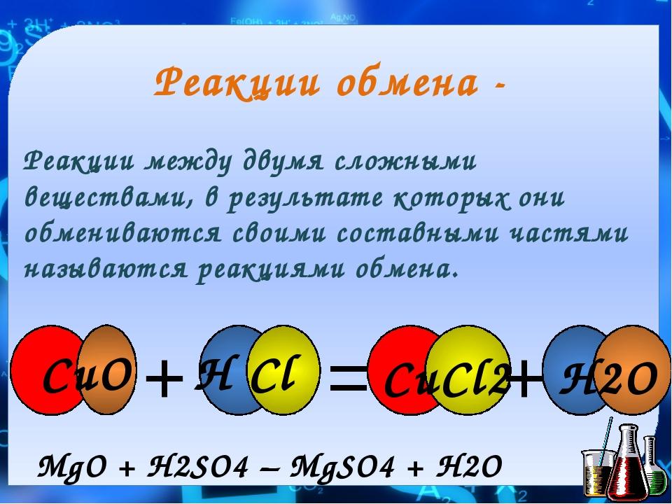 Реакции обмена - Реакции между двумя сложными веществами, в результате которы...