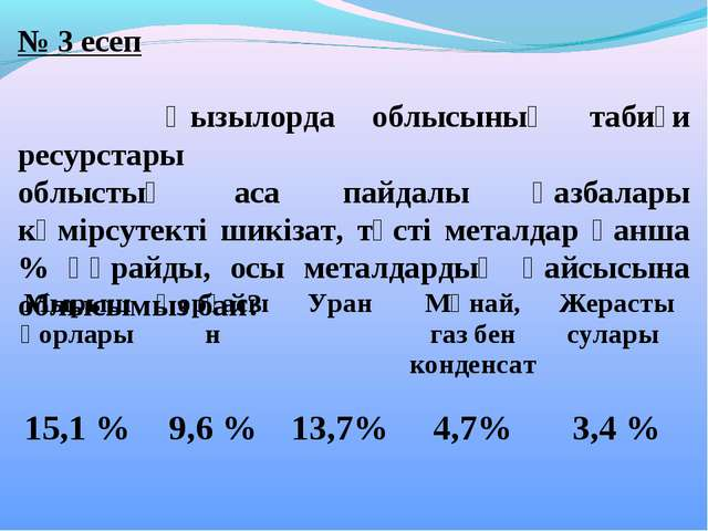 № 3 есеп Қызылорда облысының табиғи ресурстары облыстың аса пайдалы қазбалары...