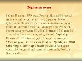 Тормыш юлы Заһир Бигиев 1870 елда Ростов-Дон шәһәрендә мулла гаиләсендә туа.Ә