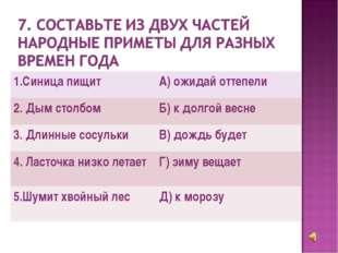 1.Синица пищит А) ожидай оттепели 2. Дым столбом Б) к долгой весне 3. Длинн