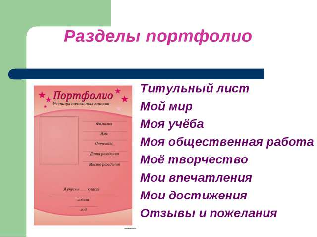 Разделы портфолио Титульный лист Мой мир Моя учёба Моя общественная работа М...