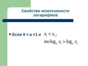 Свойство монотонности логарифмов Если 0 < а