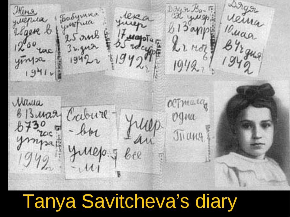 Tanya Savitcheva's diary