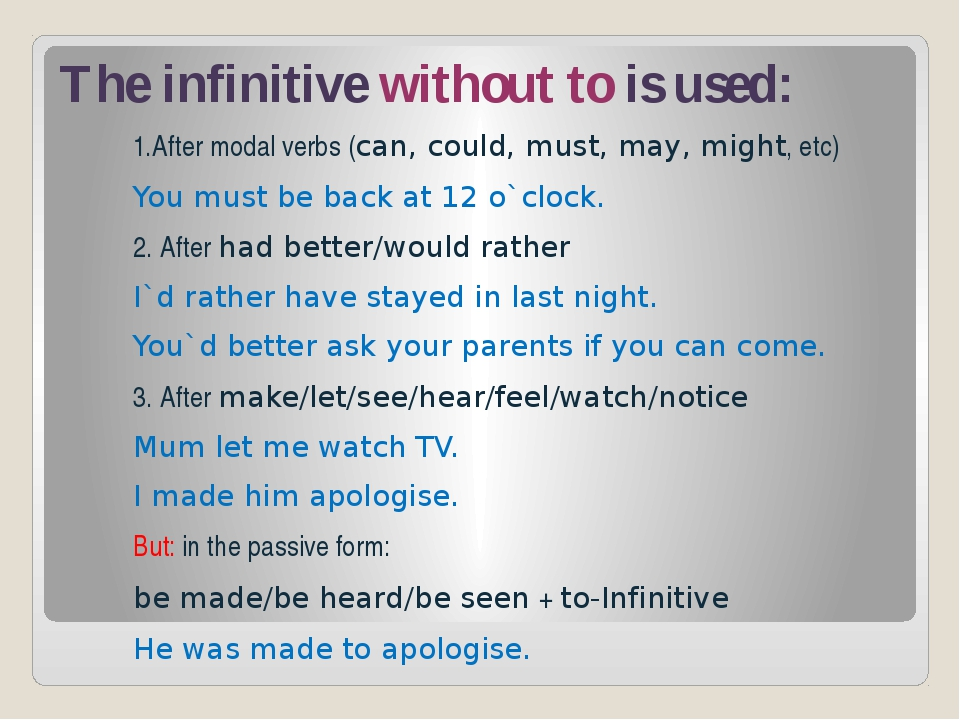 The infinitive without to is used: 1.After modal verbs (can, could, must, may...