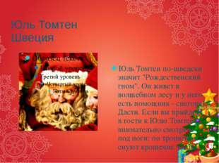"""Юль Томтен Швеция Юль Томтен по-шведски значит """"Рождественский гном"""". Он живе"""