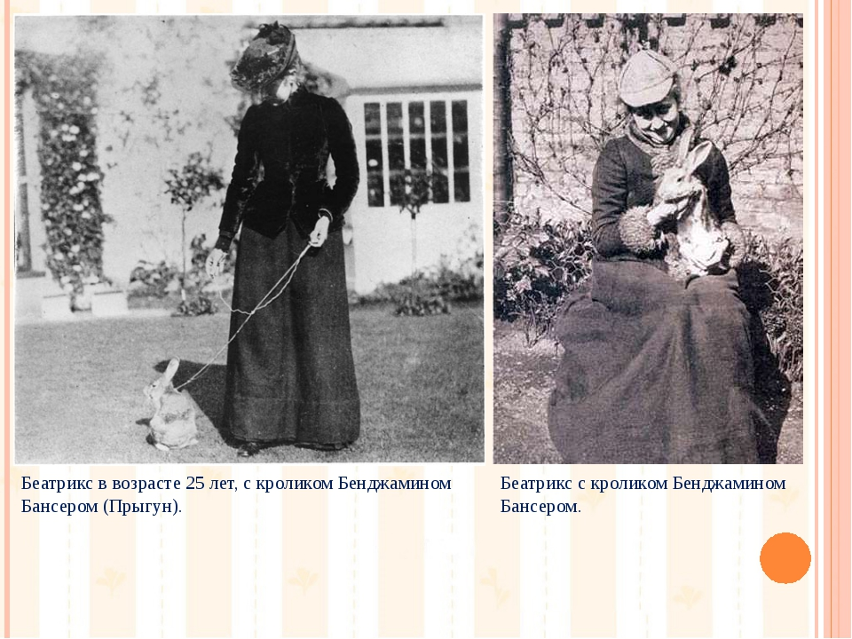 Беатрикс в возрасте 25 лет, с кроликом Бенджамином Бансером (Прыгун). Беатрик...