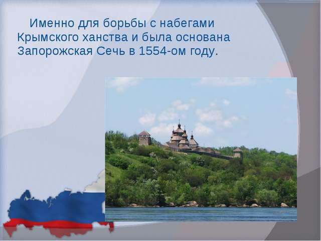 Именно для борьбы с набегами Крымского ханства и была основана Запорожская Се...