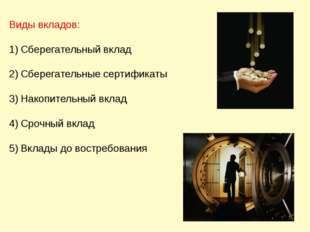 Виды вкладов: Сберегательный вклад Сберегательные сертификаты Накопительный в