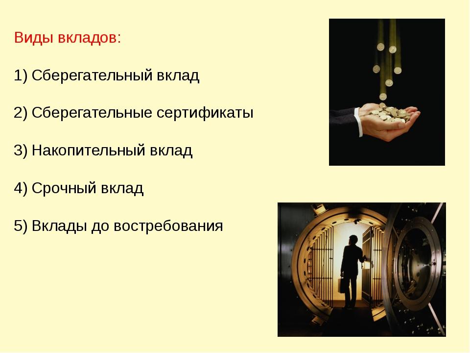 Виды вкладов: Сберегательный вклад Сберегательные сертификаты Накопительный в...