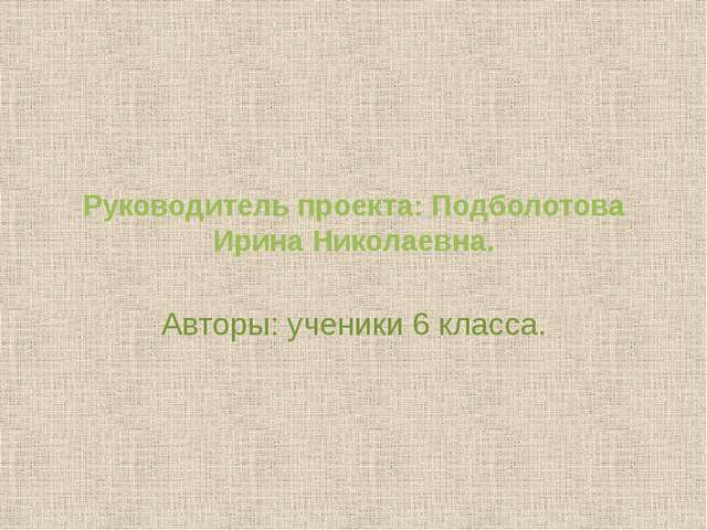 Руководитель проекта: Подболотова Ирина Николаевна. Авторы: ученики 6 класса.